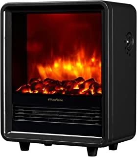 PuraFlame 12 Inches Octavia Portable Electric Fireplace Heater, 1500W, Black
