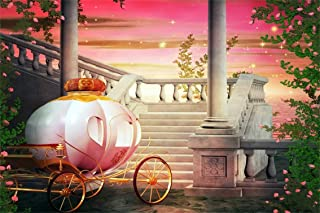 CSFOTO 10x7ft Background Pumpkin Carriage Dreamy Night Photography Backdrop Palace Stairs Stone Steps Pink Flowers Fantasy Fairy Tale Child Kid Girl Portrait Photo Studio Props Vinyl Wallpaper