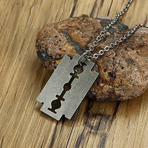 Herren Halskette Vintage Oberfläche Steampunk Rasierklinge Halskette Männer Edelstahl Rasierer Form Halsketten Anhänger Punk Rock Schmuck