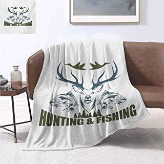 Hunting Bedding microfiber blanket Artistic Animals Emblem Moose Head Horns Trout Salmon Sea Fishes Super soft and comfortable luxury bed blanket W60 by L70 Inch Olive Green Slate Blue White