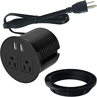 Power Grommet for Desk, Desktop Power Data Outlet with 2 AC Outlets and 2 USB Ports 6'ft Heavy Duty Power Cord