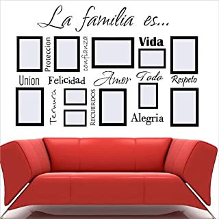 Bidsu Wall Decal Quote Words Lettering Decor Sticker Wall Vinyl Spanish Quote Wall Decal la Familia ES Personalized Wall sticekr for Living Room Family Display Wall