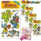 Lutz Mauder Lot de 6 tatouages pour enfants - Cadeau d'anniversaire - Chevalier - Épée médiévale - Château