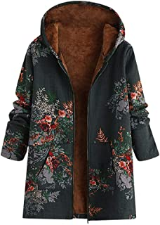 Women's Hooded Fleece Lining Cotton Linen Print Fluffy Fur Zipper Coat Outwear