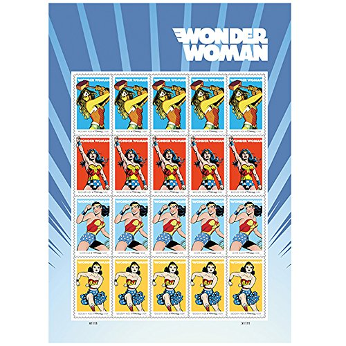 Wonder Woman 75th Anniversary Sheet of 20 Forever First Class Postage Stamps Scott 5150 By USPS