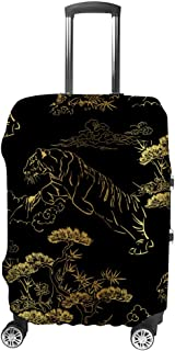 Luggage Cover Japanese Chinese Tiger Golden Rim Travel Luggage Protector Suitcase Cover Dustproof Durable XL