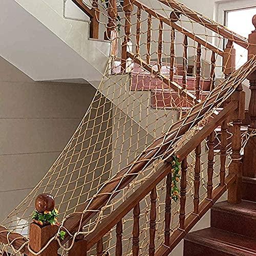 Lanrui Ropa Net Decor Net Anti-Fall Net, Ropa Fácil de Pasas, Redes de Jute Natural Piedra Protectora, Nets Subido, Tallas Múltiples Red Gatos (Color : Beige-15cm, Size : 3x8m)