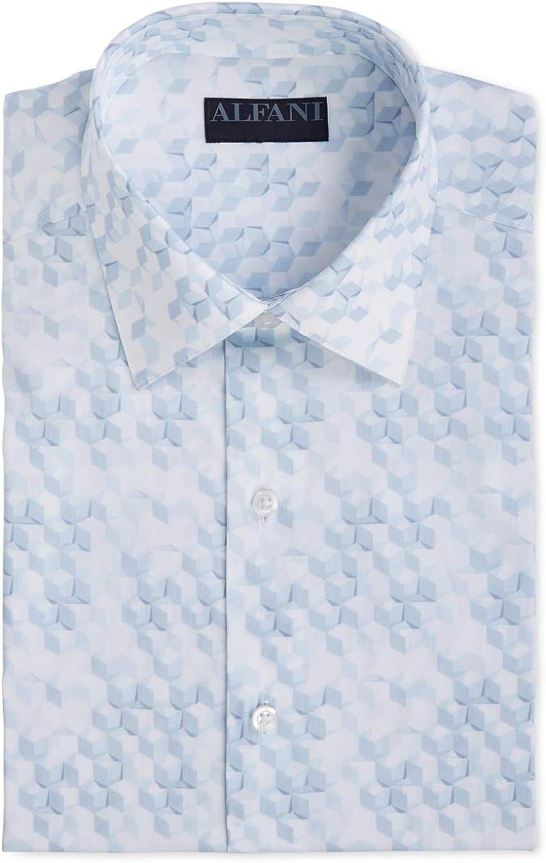 Alfani Mens Dress Shirt Classic Light Geometic Print Blue 14-14 1/2
