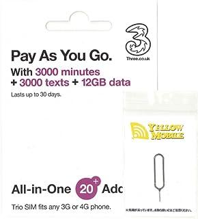 フランス SIM Three フランス他約60地域 30日データ12GB イギリス国内データ12GB/通話3000分 コミコミパック +YM SIMピンセット(日本語マニュアル付)