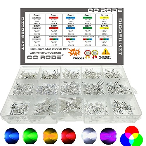 CO RODE LED RGB, kit de luz de diodo LED de 3 mm de 5 mm con color blanco, rojo, azul, verde, amarillo, rápido, parpadeo lento, RGB