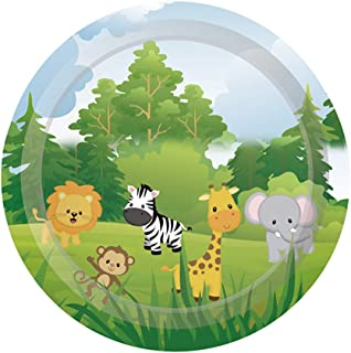 Cieovo Jungle Safari Animal Friends Birthday Party Supplies Pack for 24 Lunch Dinner Plates for Baby Shower Jungle Theme birthday Animal Birthday Party