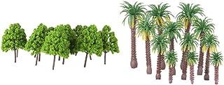 37x järnvägar för modellmodeller HO N-skala Mini kokosnötpalm Cypress träd dekoration