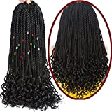 Goddess Senegalese Twist Crochet Hair Curly Ends Deep Wave Synthetic Braiding Braids Hair Kanekalon Ombre Braids Hair Extensions 6Packs 30Strands/Pack (18, 1B#)