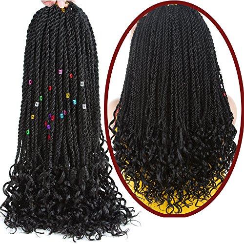 Goddess Senegalese Twist Crochet Hair Curly Ends Deep Wave Synthetic Braiding Braids Hair Kanekalon Ombre Braids Hair Extensions 6Packs 30Strands/Pack (18, 1B#)