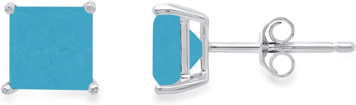 0.6ct Brilliant Princess Cut Solitaire Flawless Genuine Simulated CZ Blue Turquoise Gemstone Pair of Stud Designer Earrings Solid 14k White Gold Butterfly Push Back