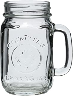 Set of 6 County Fair Glass Drinking Jar with Handle