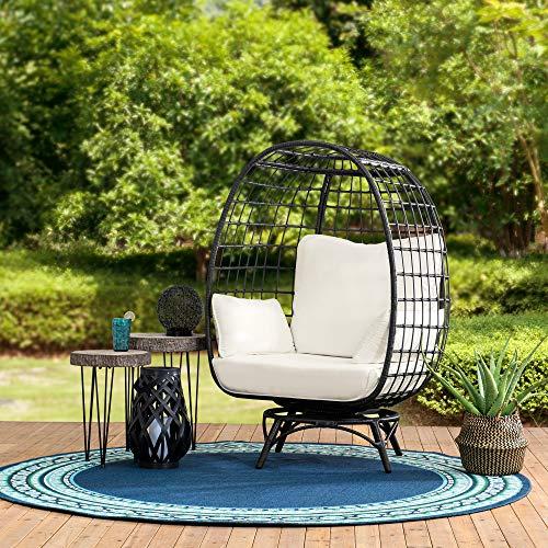 sunjoy patio furniture sets Sunjoy Kingston Swivel Egg Cuddle Chair, Black