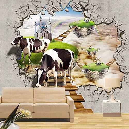 Muurschildering Muurschilderingen voor de woonkamer TV sofa achtergrond behang moderne wooncultuur kamer 3D koe poster 250 x 175 cm