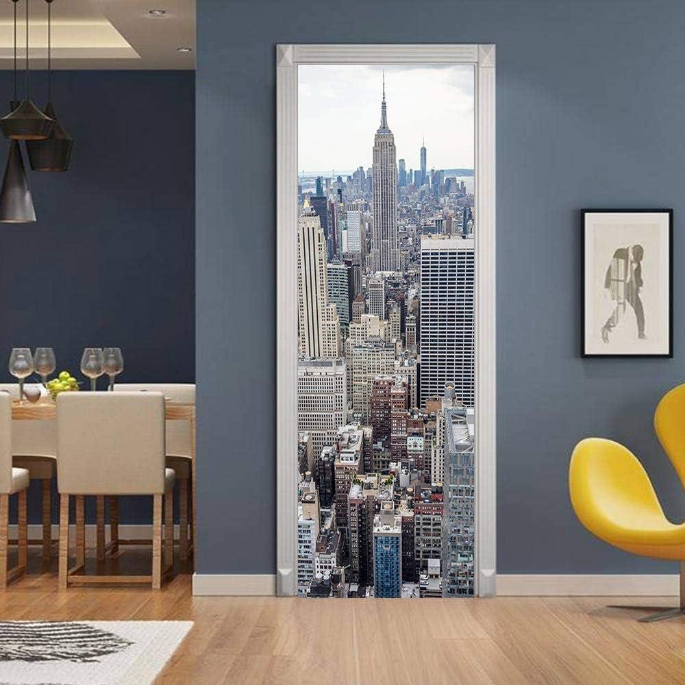 ZWLZJO 3D Rapid rise Door Decal Stickers Skyscrapers Classic New 34 Decor York
