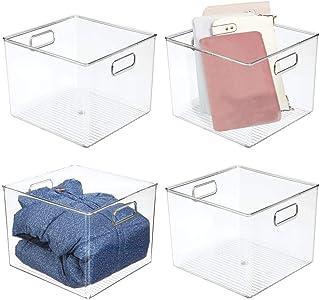 mDesign boite de rangement avec poignées – bac plastique profond pour vêtements, chaussures, etc. – idéal comme bac de ran...