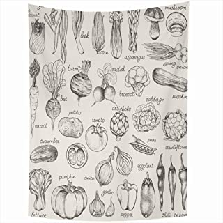 Ahawoso Tapestry 60x80 Inch Green Sketch Bio Collection Handdrawn Vegetables Vintage Food Drink Beet Mushroom Tomato Organic Pumpkin Onion Tapestries Wall Hanging Home Decor Living Room Bedroom Dorm