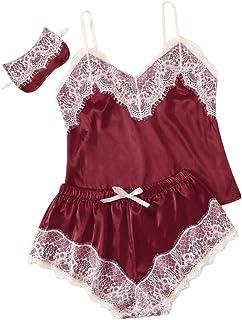 Women Sexy Lingerie Lace Set, Ladies 2pcs Solid Nightgown Sleepwear Underwear Set