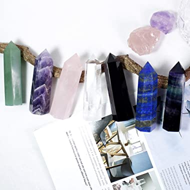 """Runyangshi Dream Amethyst Healing Crystal Wands Height 3.3""""-3.5"""", 6 Faceted Prism Wand Reiki Chakra Stone, Natural Qu"""