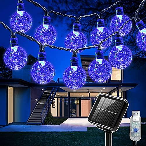Catena Luminosa Esterno Solare, SUWITU 9.2M 60 LED Luci Solari per Giardino 8 Modalità Impermeabile USB Luci Decorative a Sfera Decorative in Cristallo per Casa,Giardino,Feste,Natale(Raggio Blu )