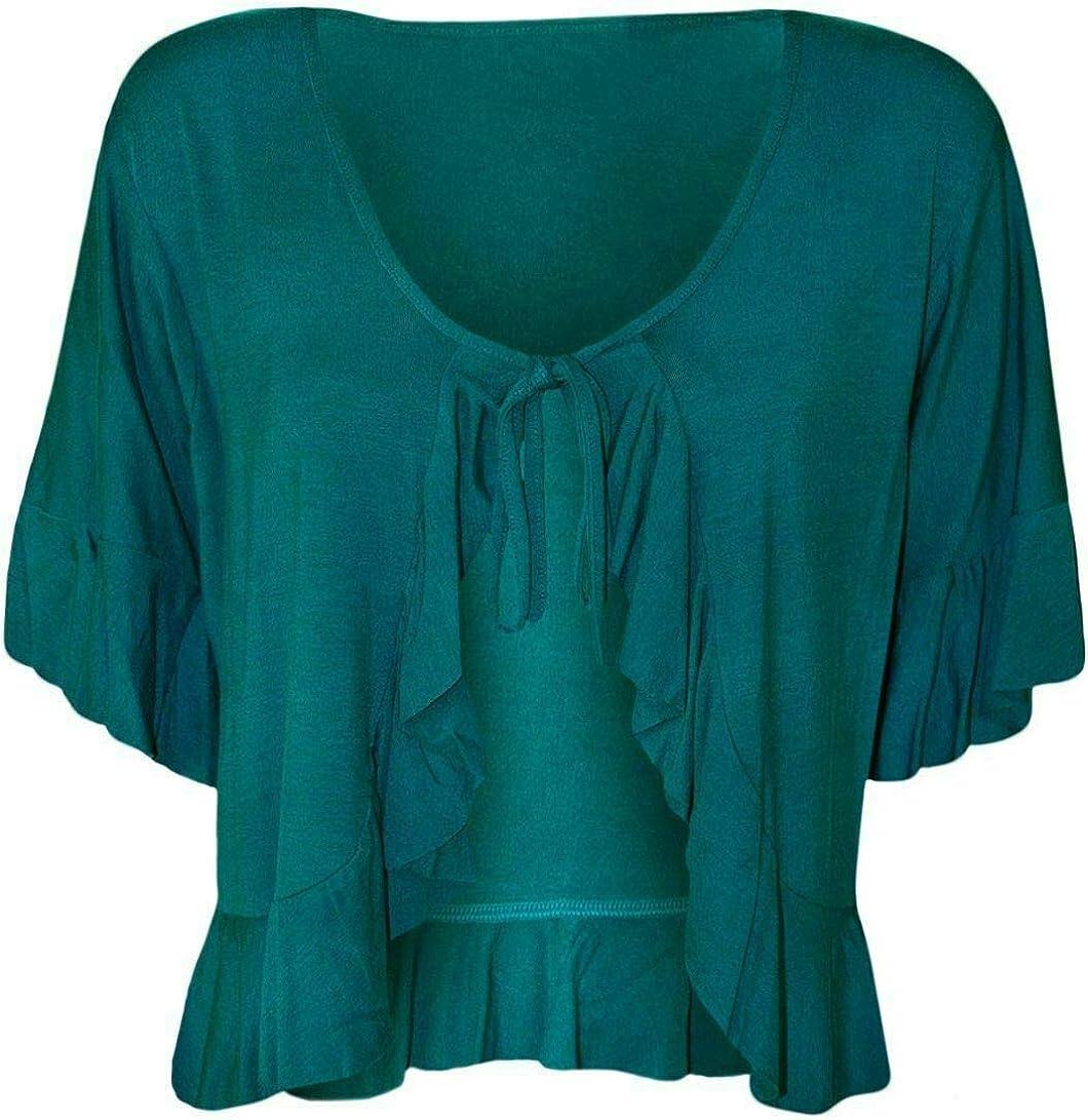 Womens Plain Frill Tie Up Ruffle Shrug Tops Ladies Bolero Stretch Short Sleeve Top Plus Size