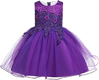 Zhhlaixing Girls Flower Sequin Princess Dress Embroidery Bridesmaid Dress Sleeveless Tutu Tulle Birthday Party Dress for Wedding Party Pageant Ball Gowns 2-14 Years