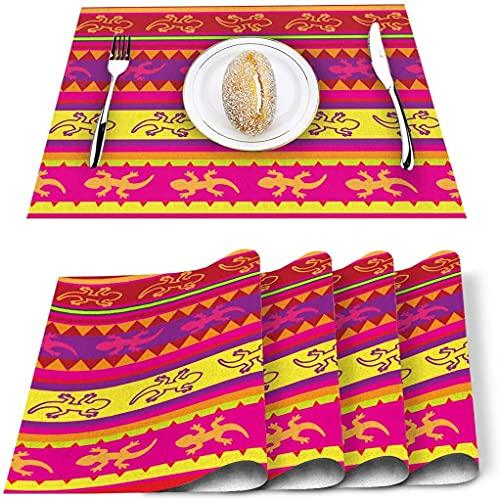 Store Sets de Table Lot de 4, Mexique Multicolor Stripe Lézard Animal PVC Tapis de Table résistant à la Chaleur Tapis de Table de Cuisine Lavable antidérapant pour Table à Manger Table de Banquet de