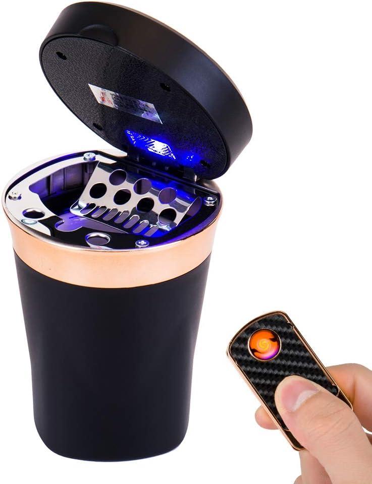 Fms Tragbare Auto Solar Aschenbecher Mit Deckel Und Blauer Led Licht Mit Zigarettenanzünder Und Usb Aufladbar Abziehbar Für Getränkehalter Schwarz Auto