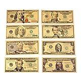 Xinzhi - 8pcs / Set Billetes de Banco 24 K Dólares chapados en Oro 1 2 5 10 20 50 100 Dólares Decoración Plata Chapado en Oro Antiguo EE. UU. Dinero Falso