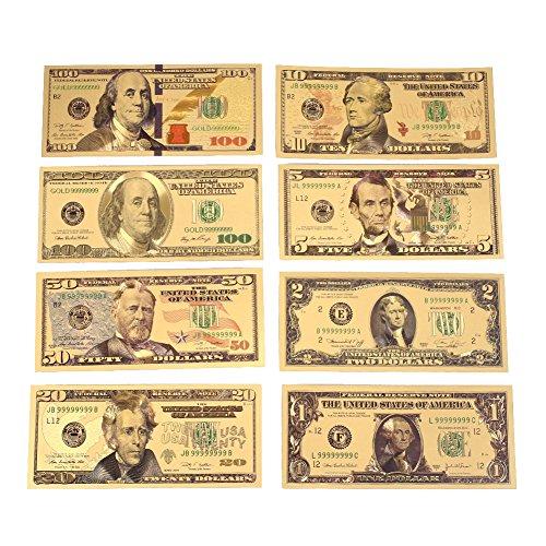 Rosepoem 1 2 5 10 20 50 100 Dólar 24K oro plateado dólares Realista