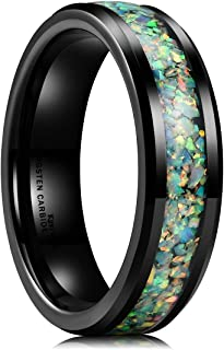 Nature Mens 6mm Black Tungsten Carbide Ring Inlaid with Opal Fragments/Multicolor Fragments Wedding Band