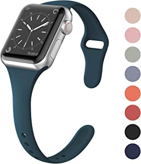 SWEES Sport Silicone Band Compatible Apple Watch 38mm 40mm, Soft Silicone Slim Thin Narrow Small Replacement Wristband for iWatch Series 4, Series 3, Series 2, Series 1 Nike+, Sport, Edition Women Men