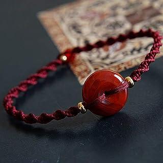 XIAOGING Lucky Bracelet Southern Red Agate Safe Buckle Bracelet Red Rope Hand-Woven Bracelet Wine Red Bracelet Vintage Sty...