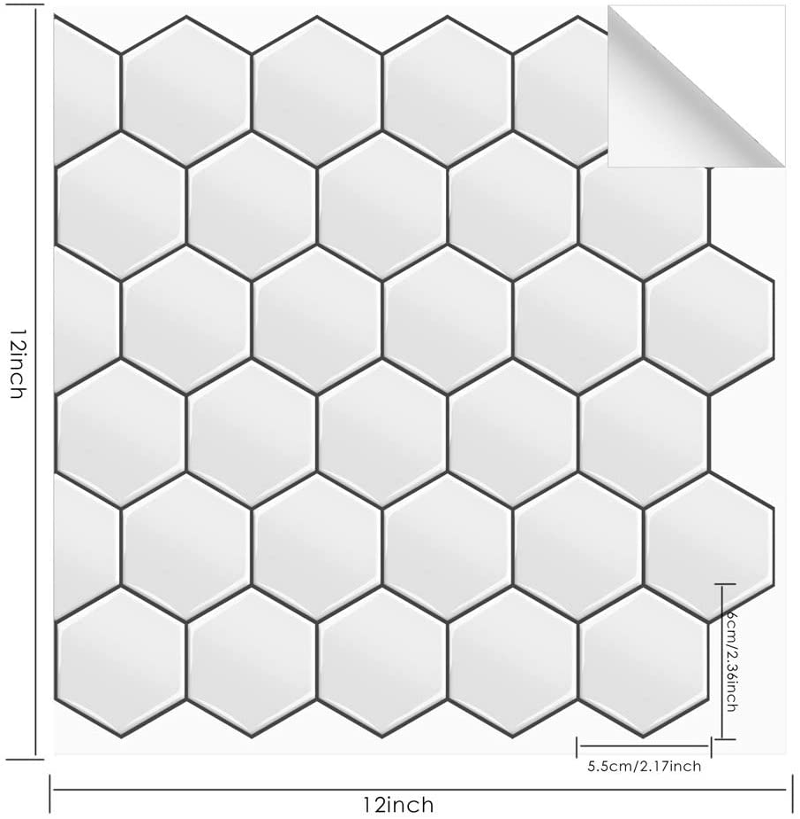 MORCART Fliesenaufkleber Selbstklebende Fliesendekor Aufkleber Backstein 3D Hexagon Wallpaper K/üchenschr/änke Badezimmer Kamin Bodentreppe Abnehmbar Wasserdicht f/ür K/üche und Bad MT1069, 10