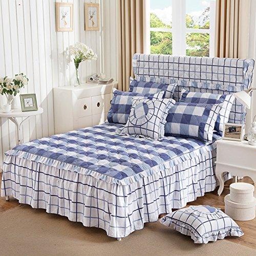 LJNGCS Bettrock Baumwolle gesteppt tagesdecke Spitze einzigen Bett Sets verdicken blätter-G 150x200cm(59x79inch)
