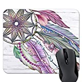 Dreamcatcher Boho Mouse Pad Pink and Purple Watercolor Mousepad Teacher Gifts Desk Accessories Womens Office Gifts