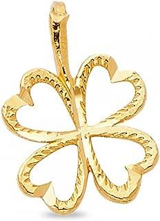 GemApex Clover Pendant Solid 14k Yellow Gold Irish 4 Leaf Charm Good Luck Diamond Cut Polished 11 x 11 mm