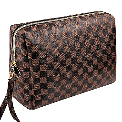 Large Checkered Makeup Bag, Tufusiur Cosmetic Bags for Women Travel Organizer Retro Portable Toiletry Bag for Christmas Birthday Gifts