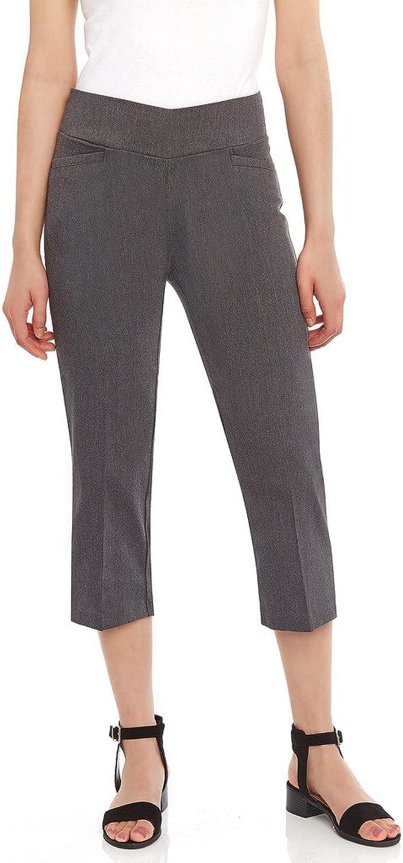 Leveret Women's Pants Pull on Comfort Fit Dress Capri Pants (Size 418) 12 Grey