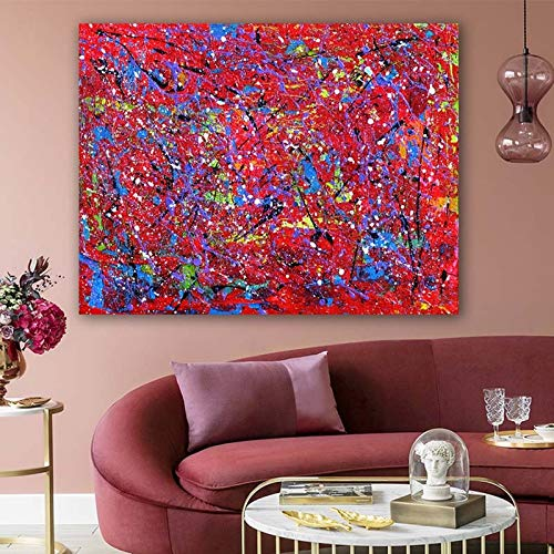 hetingyue Abstrakte Graffiti-Wanddekoration Moderne Leinwanddrucke rote und Blaue Linie Ölgemälde Kunstbild Wohnzimmer Poster rahmenlose Malerei 30x37cm