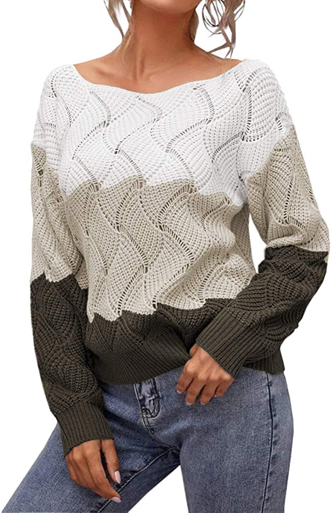 Aiopr Women's Sweaters Long Sleeve Color Block Cable Knit Casual Pullover Sweater Round Neck Jumpers