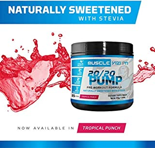 Muscle Vizion 20/20 Pump Pre Workout Pump Enhanced Formula with Citrulline Malate Agmatine Sulfate Natural Caffeine to Enhance Pump Energy Focus & Endurance Naturally Sweetened with Stevia.