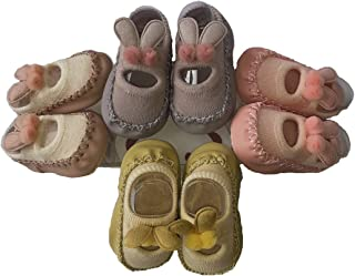Clastik (0-9) Months, 1 Pair, Anti Slip Socks Cum Booties with Rubber Sole (Baby Girls)- Assorted Color and Designs