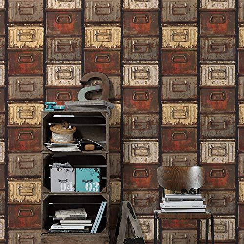 #patterned.wallpaper Loft Design Wohnzimmer Tapete Rustikale 3D Vliestapete Schlafzimmer Vintage Metallschrank Rot Tapeten Made in Germany