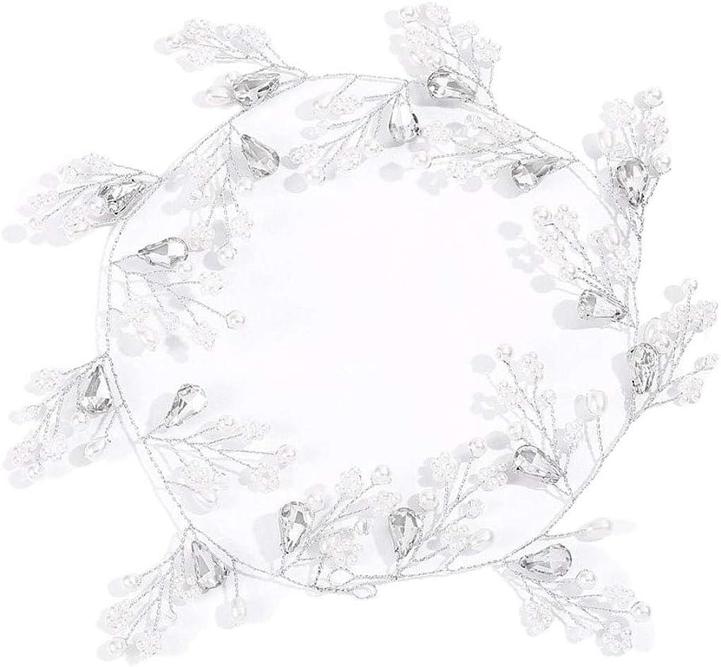 Yalice Bride Pearl Wedding Hair Vine Rhinestone Bridal Headband Hair Accessories Headpiece for Women and Girls