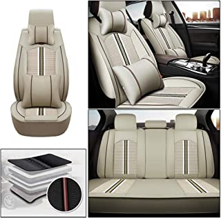 Luxury Cayenne Airbag Compatible Car Seat Covers for Jeep Wrangler 2011-2019 5-Seat Custom PU Leather Front Rear Seat Pad All Season Protetion Full Set Easy Install